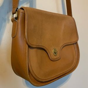 Vintage Coach Camel Leather Flap Front Bag